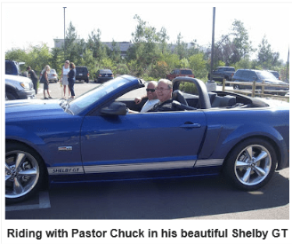 Pastor Chuck in Shelby GT